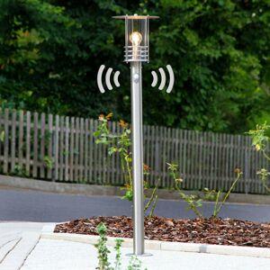 Lindby Chodníkové svietidlo Miko oceľ detektor
