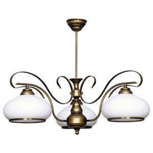 ALDEX Závesná lampa 493 sklo opál/starožitná zlatá 3-pl.