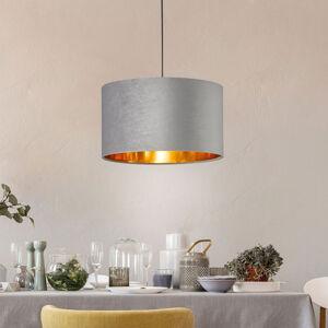 FISCHER & HONSEL Závesná lampa Aura zamatové tienidlo Ø 40cm sivá