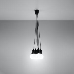 SOLLUX Závesná lampa Brasil, čierna, päť-plameňová