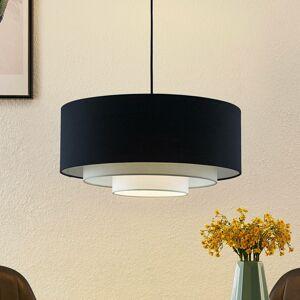 Lindby Lindby Ailany závesná lampa, textil, čierna, sivá