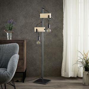 Lindby Lindby Asya stojaca lampa, drevo, čierna