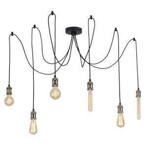 Lindby Lindby Kravos závesná lampa 6-pl., čierno-mosadzná