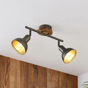 Lindby Lindby Nesrin stropná lampa, drevený kotúč, 2-pl.