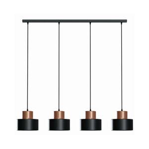 EULUNA Závesná lampa Olla v čiernej/medenej, 4-plameňová