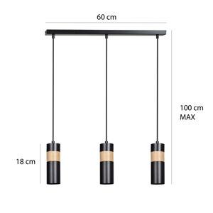 EMIBIG LIGHTING Závesná lampa Akari 3 drevené detaily 3-pl. čierna