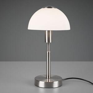 Reality Leuchten Stolná lampa Don, stmievateľná, biela/nikel matný