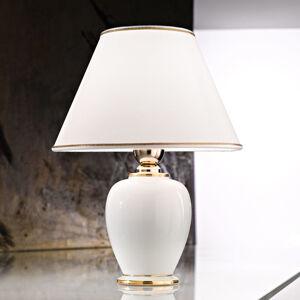 AUSTROLUX BY KOLARZ Stolná lampa Giardino Avorio bielo-zlatá, Ø 25cm