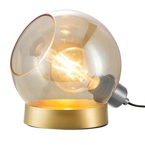 Nino Leuchten Stolná lampa Toula, Ø 20cm, sklo jantárová