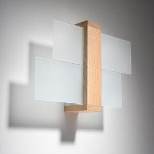 SOLLUX Nástenné svietidlo Shifted 1, sklo a svetlé drevo